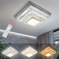 64W Dimmable Crystal Ceiling Light LED Lamp Remote Control Indoor Home Lampada Square Shape Bedroom Living Room Foyer
