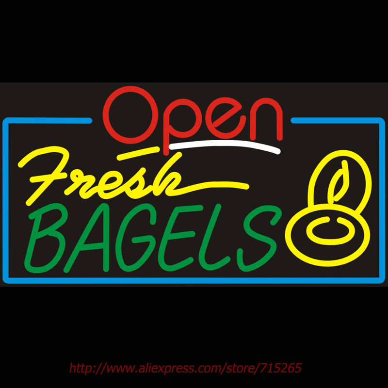 Open Fresh Bagels Neon Bulbs Real Glass Tube Handcrafted Real Recreation Garage Display Personalized Custom Neon Decorated 24x20