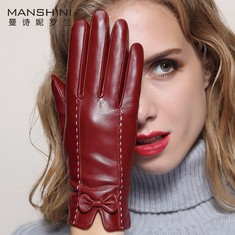 Genuine Leather Touch Screen Gloves Female Winter Thick Warm Sheepskin Gloves Women's Fashion Leather Gloves Drive Gloves MLZ033