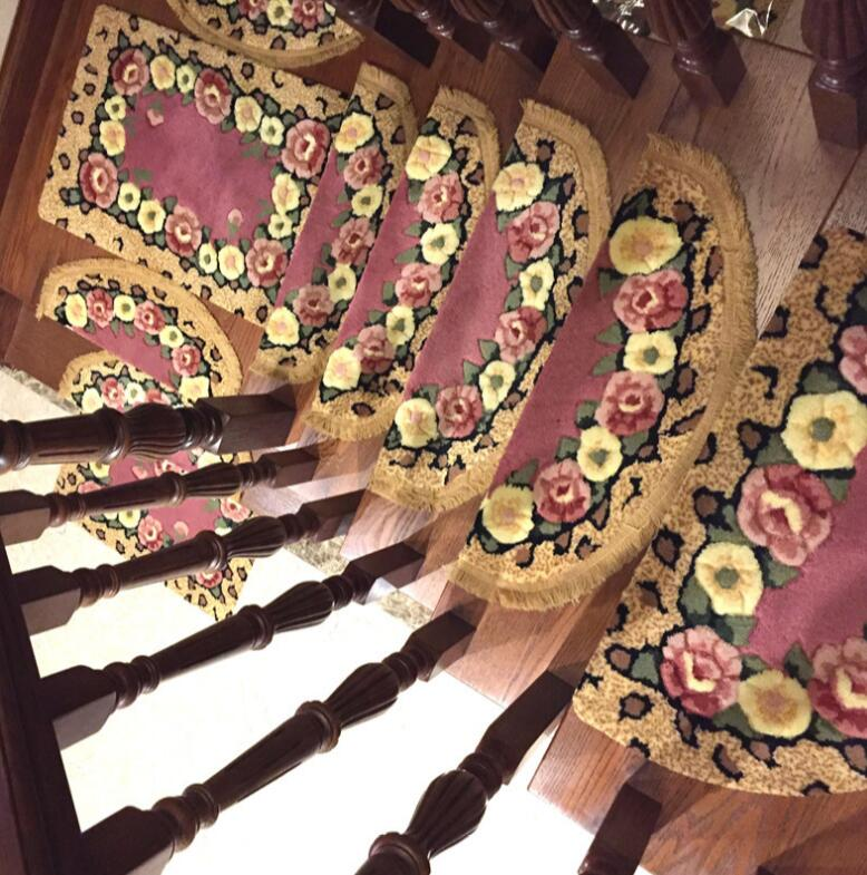 10pcs Stair Carpets Sets Slip Resistance Stair trend Mats Step Rug for Stair 25*70cm fit for 25cm width Stair Stepping pad