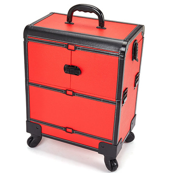 9%Large Size Aluminum Alloy Cosmetic Organizer Multi-layer Beauty & Makeup Storage Trolley Cosmetic Case Travel Toiletry Trunk