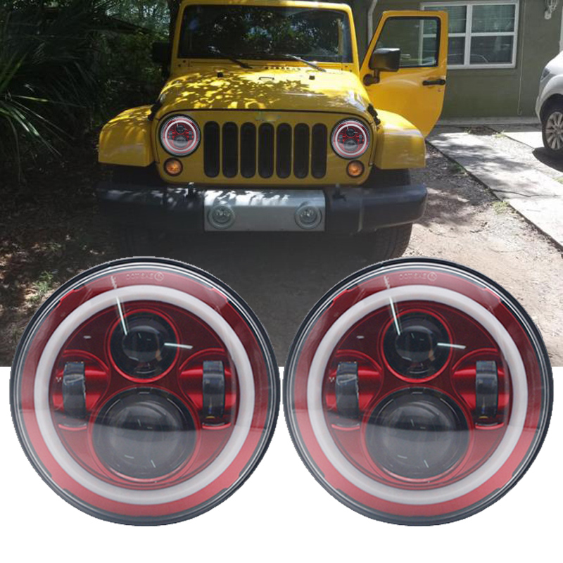TNOOG 7inch LED Headlights with White Halo Ring Angel Eyes Turn Signal Halo For Jeep Wrangler