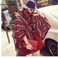 Богемия batwing куртка зима национальная вышивка кисточка с капюшоном форме крыла летучей мыши рукав пальто плащ обчистить уличной одной грудью L235