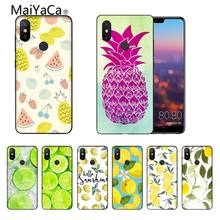 Fruit Pineapple Banana Watermelon Black Soft Shell Phone Cover For Xiaomi MI8 6 Note2 Note3 Redmi Note 5 5PLUS MIX2 MIX2S(China)