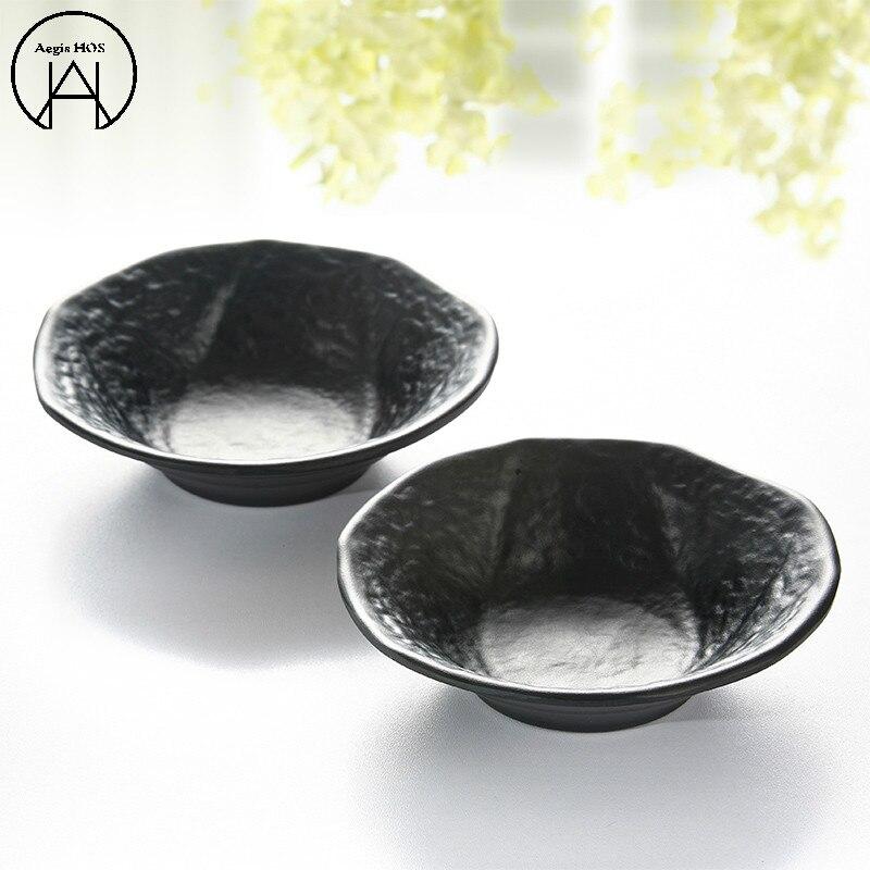 1PCS Black Melamine Plates Silicone Mold Launch Box Sashimi Sushi Dish Plate Barbecue Tray Dinnerware Set Cutlery Set Dinner
