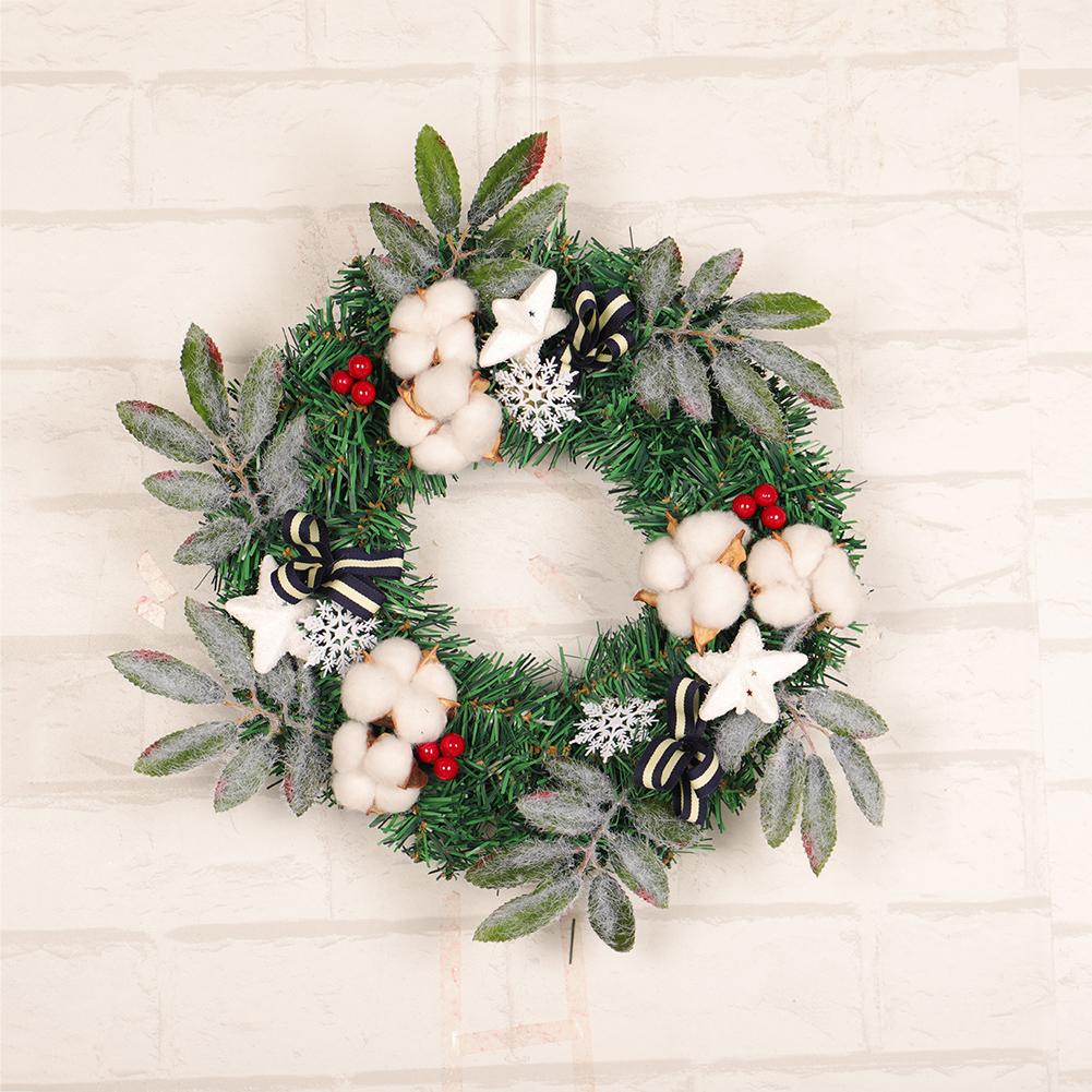 Merry Christmas Wreath with Bow Handcrafted New Year Grand Tree Christmas Gift Xmas Ornament Pendant