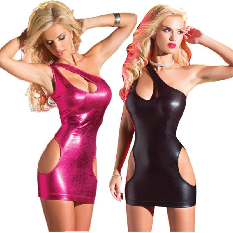 Buy 2017 Womens Black Sexy Bodycon Leather Dresses Strapless Latex wear Sexy Costumes PVC Mini Dress Catsuits Cat Suits Vestidos