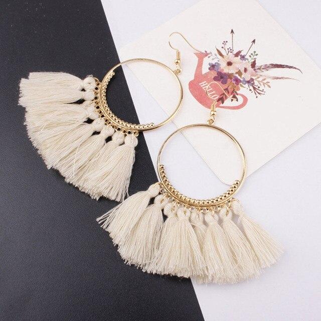 Tassel Earrings For Women Ethnic Big Drop Earrings Bohemia Fashion Jewelry 4