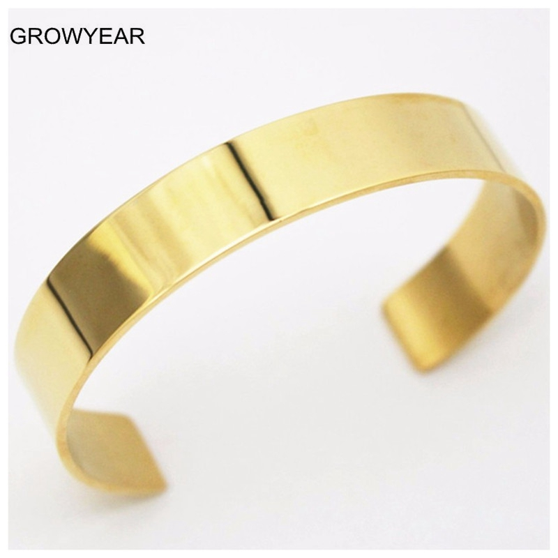 5571bcbd042 Personalized Customized 8MM Men Women Cuff Bracelet in Rose Gold Color Stainless  Steel Male Female Open ...