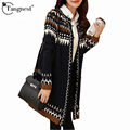 TANGNEST Long Knitted Cardigan Women 2016 Autumn Winter Knitwear Vintage Retro Style Long Sleeve Sweater Coat Feminino WZL646
