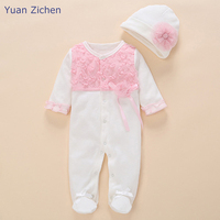 Children Clothes Newborn Floral Baby Girl Rompers Infant Cotton Lace Long Sleeve Romper Hat 2Pcs Long Sleeve Toddler Jumpsuit