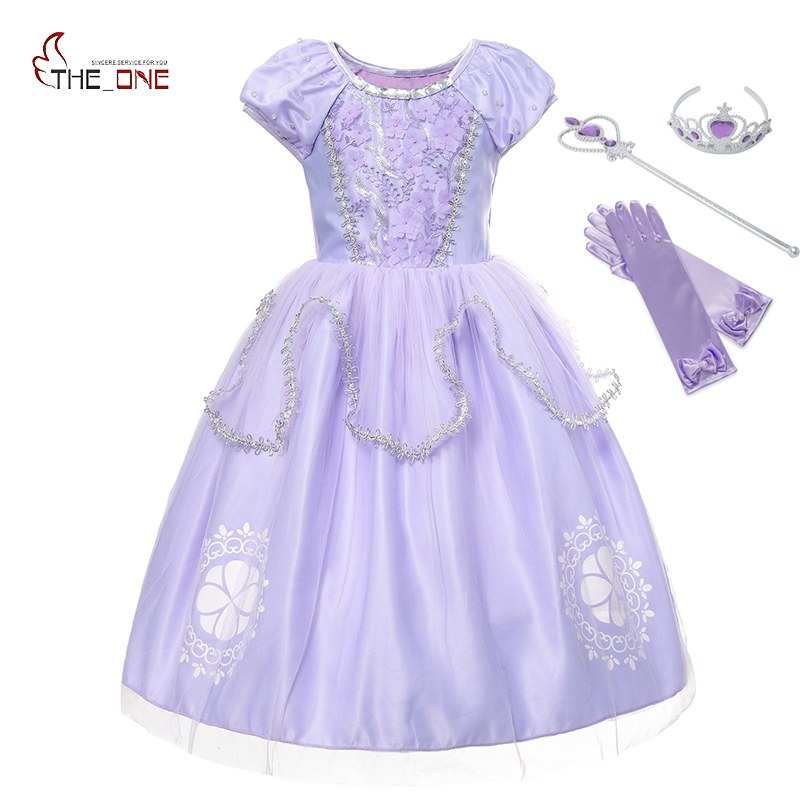 MUABABY Girls Sofia Dress Up Fantasy Puff Sleeve Floral Beadings Sophia Princess Costume Halloween Kids Party Cosplay Dresses button up frilled puff sleeve blouse