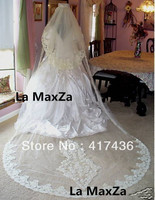 Custom made luxurious 3 meters long lace tulle bridal wedding white veil hair accessories women beige Chapel the train veils