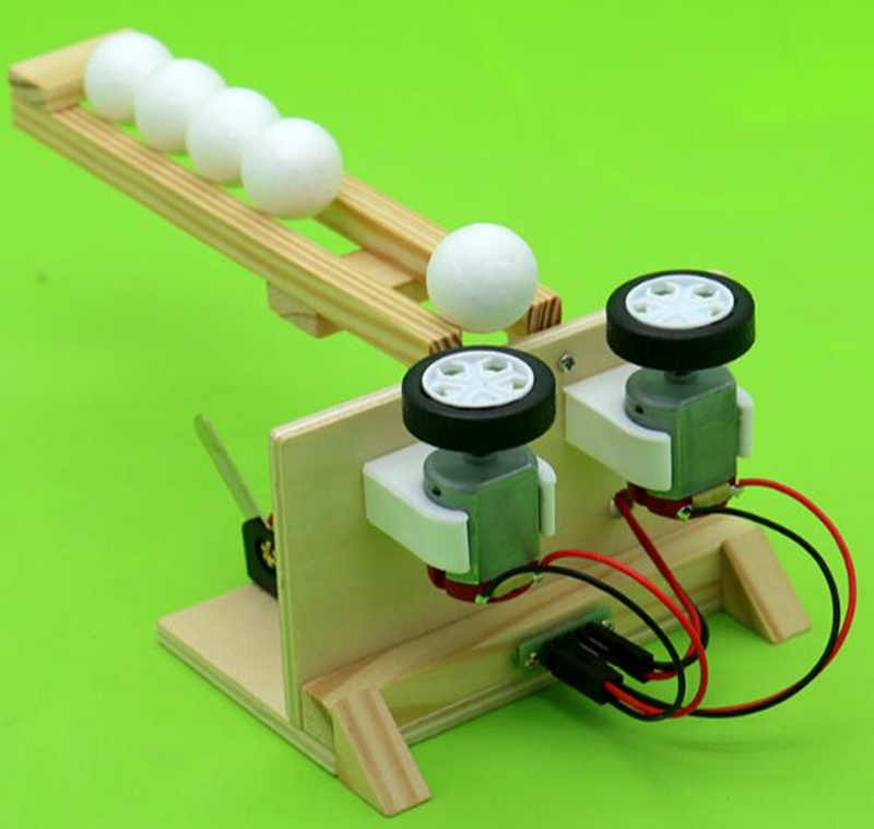Happyxuan Ball Emitter Kids DIY Science Experiment Kits Wood Assemble Electric Model Fun Physical Educational Toy Creative Boy