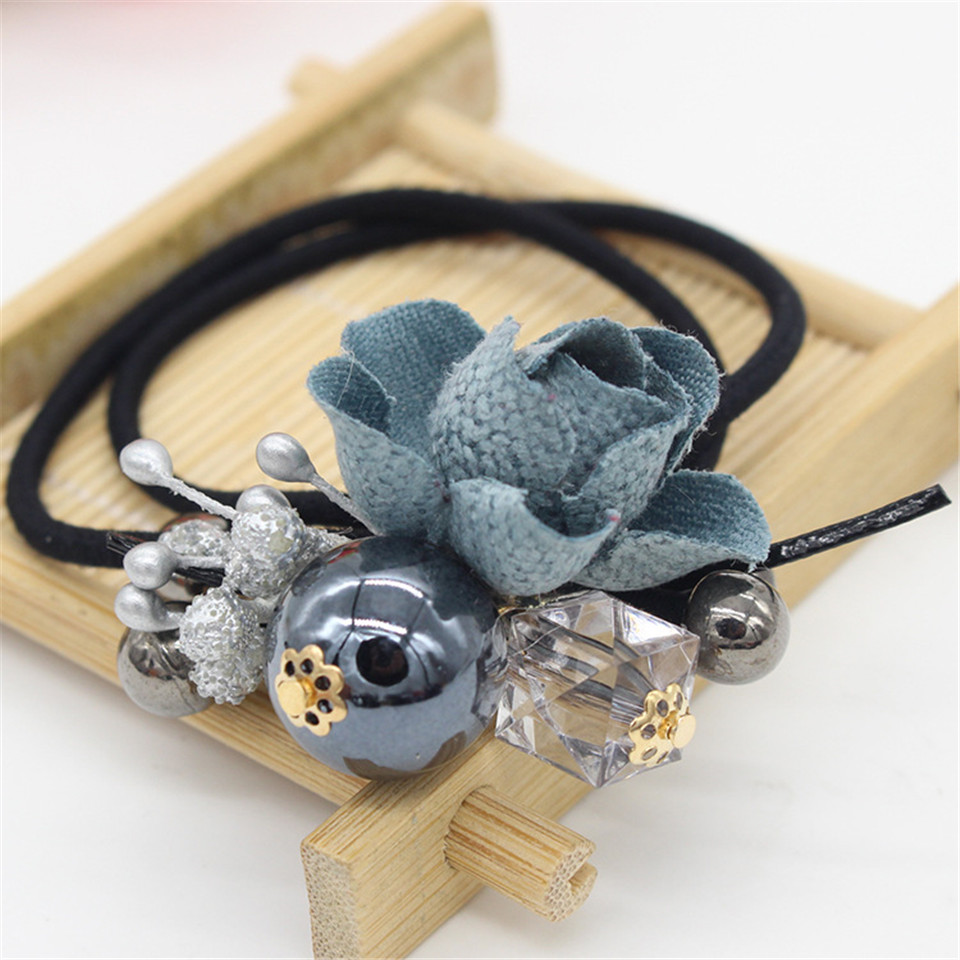 Vigueur Hot Sale Rubber Bands Women Hair Accessories Flower Bowknot Pattern Black Tie Gum Girls Elastic Hairband