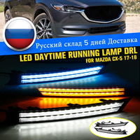 Pair 12V Car Led Daytime Running Light Fog Lamp Decoration For Mazda Cx 5 Cx5 2017 2018 Flowing Turn Signal Waterproof Car Drl