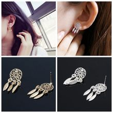 Silver Gold Bohemia Nationality Indian Feather Dream Catcher Dreamcatcher Drop Dangle Earrings For Women Jewelry High Quality(China)