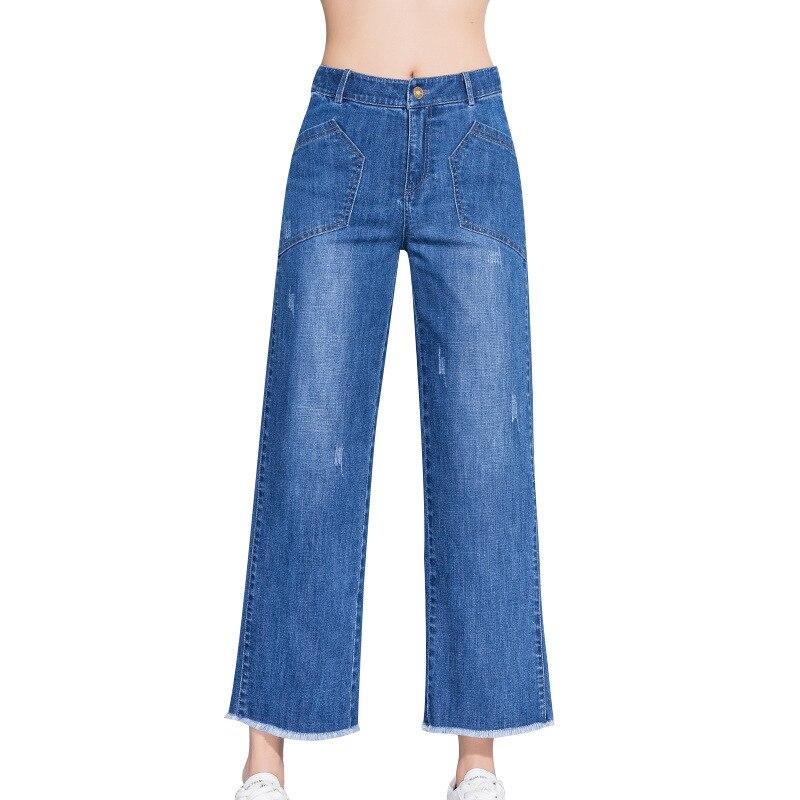Verano Lavado Plus Primavera Nueve Cintura Tamaño Azul Para Vaqueros 2019 Alta Pantalones Algodón Mujer Rectos De Novio qH6S7T