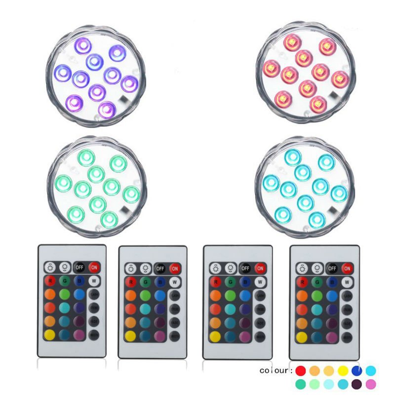 (50pieces/ Lot) Home Decoration Accessories Submersible LED Lights, 3AAA Battery Operated Wedding Decoration Lights With Remote