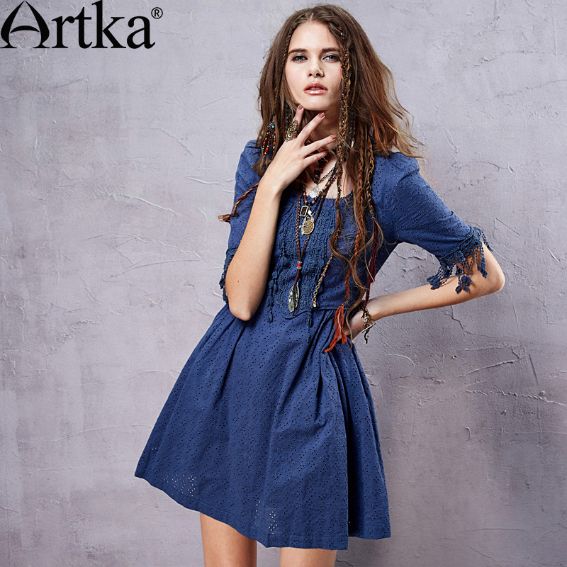 Artka Women s Summer Cotton Perforated Dress Bohemia Style Tassel Patchwork Embroidery Square Collar Dress LA14055X