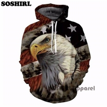 SOSHIRL Eagle 3D Print Hoodies Sweatshirts Men Fashion American Flag Hooded Sweats Tops Hip Hop Unisex Graphic Pullover