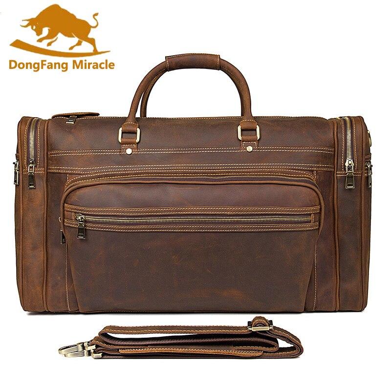 Винтаж Crazy Horse Пояса из натуральной кожи дорожная сумка Для мужчин вещевой мешок Чемодан Большой ноутбук сумка карманов коричневый высокой