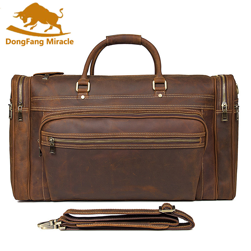 Vintage Crazy Horse Genuine Leather Travel bag Men Duffel Bag Luggage Large Laptop Handbag Tote Pockets Brown high capacity 7077r crazy horse leather unisex dark brown huge luggage bag tote bag travel bag