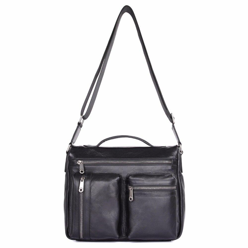 JMD First Grade Cow Leather Sling Bag Classic Handbag Black Large Capacity Messenger Bag For School Girls 1019A