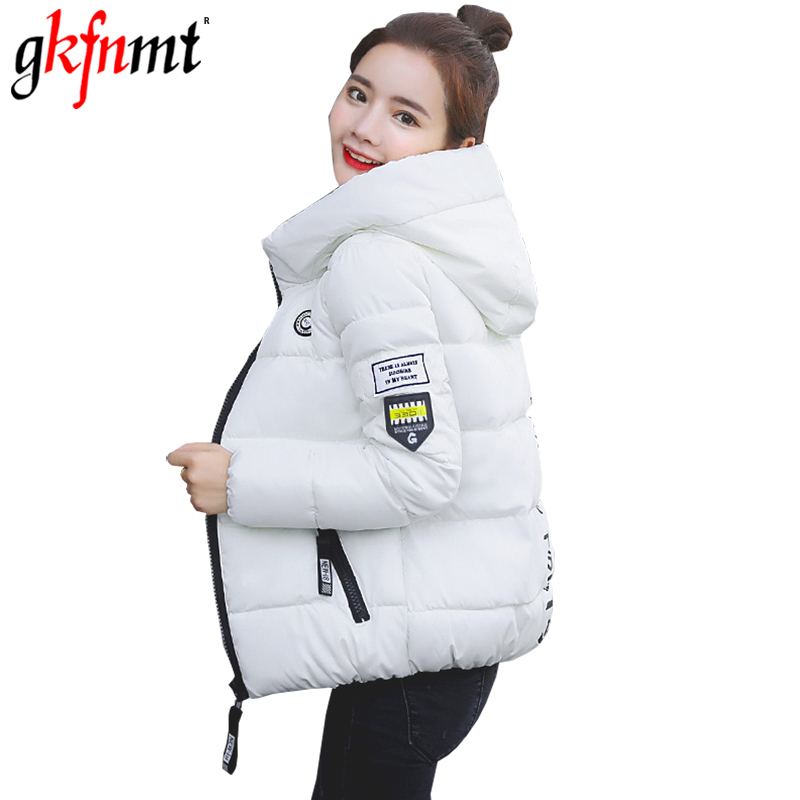 Winter Jacket Women Outwear Woman Hooded Short Jackets High Waist Letter Print Casaco Feminino Inverno 2018 Coat   Parka   Plus Size