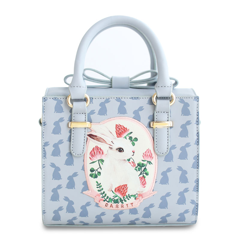 ENSSO Hot Sale Bow Rabbit Animal Print Small High Quality Blue Bag Mori Lady Faux Leather PU Women's Handbag Totes Crossbody Bag