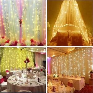 Image 5 - Rideau lumineux de noël, lampe à LED, guirlande lumineuse de 3M * 1M 6M * 3M, décoration intérieure, pour chambre à coucher, fête, mariage, vacances