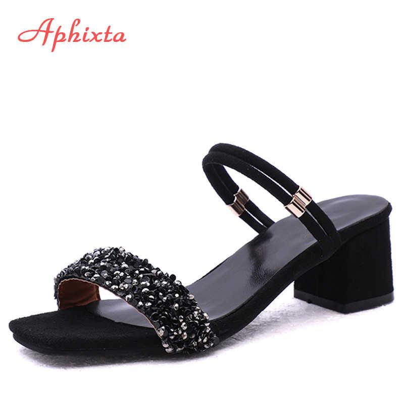 Aphixta ayakkabı kadın sandalet lüks kristal ayakkabı yaz burnu açık toka tıknaz topuklu taklidi terlik gümüş altın büyük boy