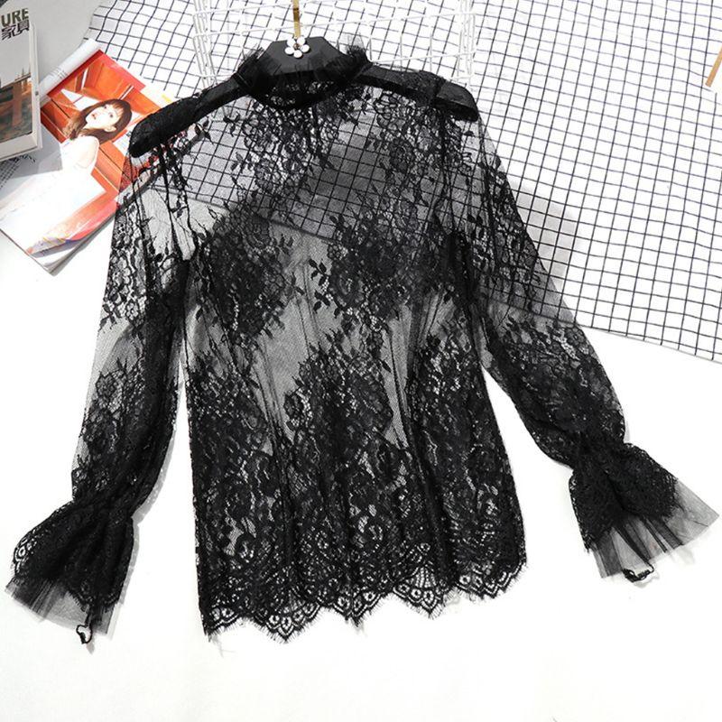 Женская прозрачная сетчатая блузка с длинными расклешенными рукавами, ажурная вышитая Цветочная кружевная рубашка, купальник, накидка с оборками на воротнике, однотонный цвет B