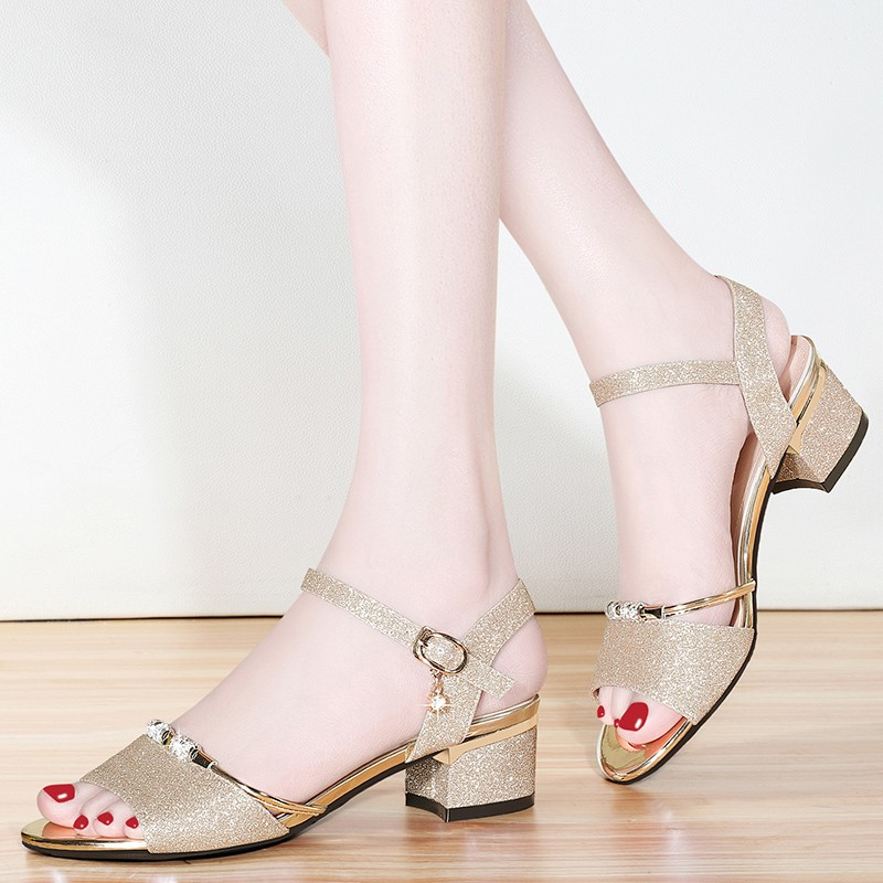 Summer Gladiator Sandals Women Pumps Genuine Leather Shoes Woman Sexy Gold Sliver High Heels Ankle Strap Thick Heels YG A0199 in Middle Heels from Shoes