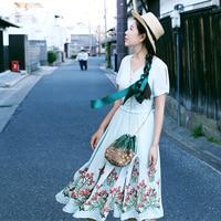 MX073 New Arrival Boho Vintage Ethnic Print Cotton And Linen Off Shoulder Long Maxi Women Two