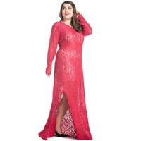 8XL 9XL Plus Size Womens Clothing V Neck Long Sleeve Lace Dress Autumn Floor Length Dress Lined Evening Party Solid Long Dress