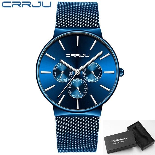 reloj hombre 2019 CRRJU Top Brand Luxury Men Watches Waterproof Ultra Thin Date Wrist Watch Male Mesh Strap Casual Quartz Clock
