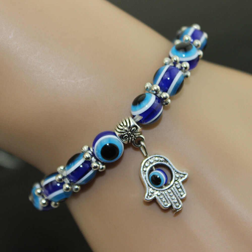 แฟชั่นที่ดีที่สุดตุรกีสร้อยข้อมือ Evil Eye Hamsa มือทางศาสนา charm ลูกปัดสีฟ้า Lucky สร้อยข้อมือสำหรับสตรี