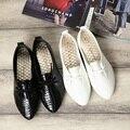 DreamShining Мода Женская Обувь Скольжения На Женщин Квартиры Обувь ИСКУССТВЕННАЯ Кожа Повседневная Обувь Комфорт Черный/Белый