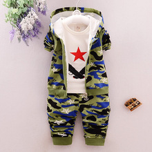 Children Camouflage Clothes Kids Sport Suit Autumn Cotton Camo Hooded Vest And T-shirt And Pants 3Pcs Clothing Set basik kids vest hooded gray melange kids clothes children clothing