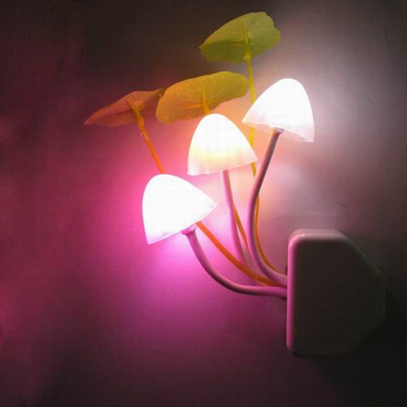 Z20 Novelty Mushroom Fungus Night Light EU&US Plug Light Sensor  3 LED Colorful Mushroom Lamp Led Night Lights For Baby