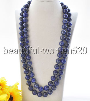 Z9186 14mm Natural Blue Round lapis lazuli Bead Necklace Cougar CZ 50inch