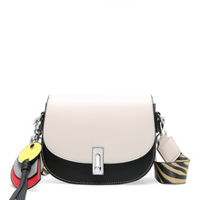 Stylish and gorgeous saddle-shaped design contrast color women messenger bags wide-band crossbody retro wild leather womens bag