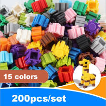 2016 Free shipping Mixed small particles Children's educational fight inserted blocks Enlightenment educational toys 200pcs/set