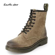 59837f07 ESTRELA DA TERRA Sapatos Outono Martin Botas Senhora de Couro Real Das Mulheres  Da Marca chaussure