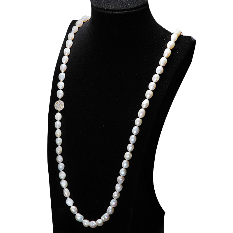 2016 New Fashion 100 fresh water pearl necklace 9 10 mm natural pearl necklace 90 135