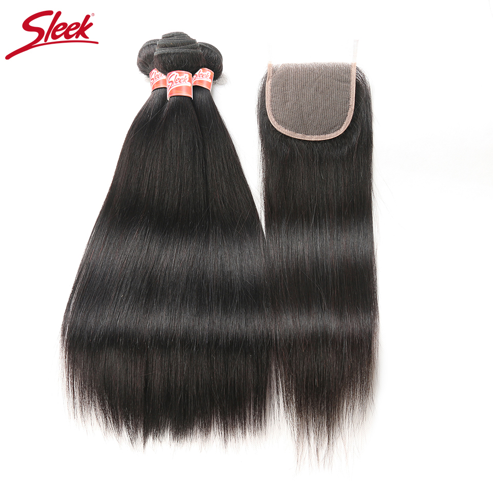 Sleek Brazilian Hair Weave With Closure Straight Hair 3 Bundle With Lace Closure 4 Pcs Lot