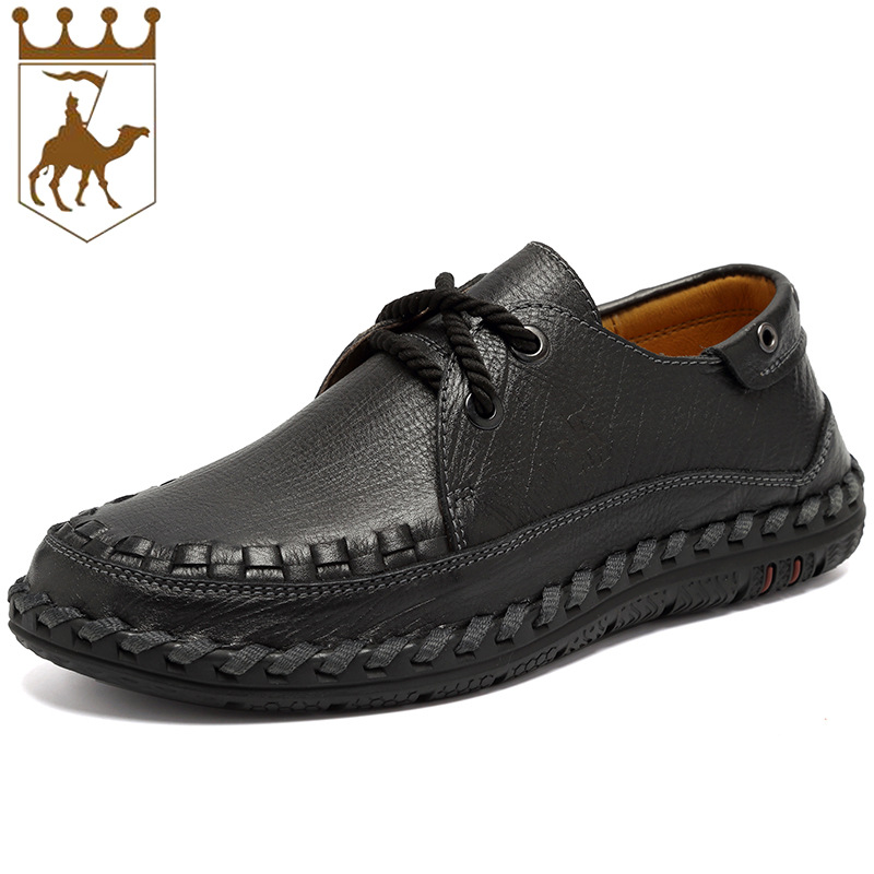 BACKCAME Handmade Business Men's Genuine Leather Comfortable Casual Shoes Loafers Men Shoes Casual High Quality Lace-up Shoes high end breathable men casual shoes loafers genuine leather lace up rubber handmade slip on sewing lazy shoes italian designer