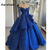 Ball Gown Long Sleeve Royal Blue Prom Dresses Luxury Beading Satin Chic Long Evening Dress Arabic Special Occasion Party Gowns