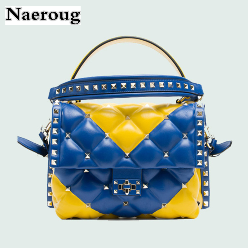 Italian Luxury Fashion Brand Show Star Women Rivet Shoulder Bag Luxury Genuine Leather Handbags Totes Famous Designer Sac A Main luxury handbags women bags designer handbags high quality pu leather bag famous brand retro shoulder bag rivet sac a main